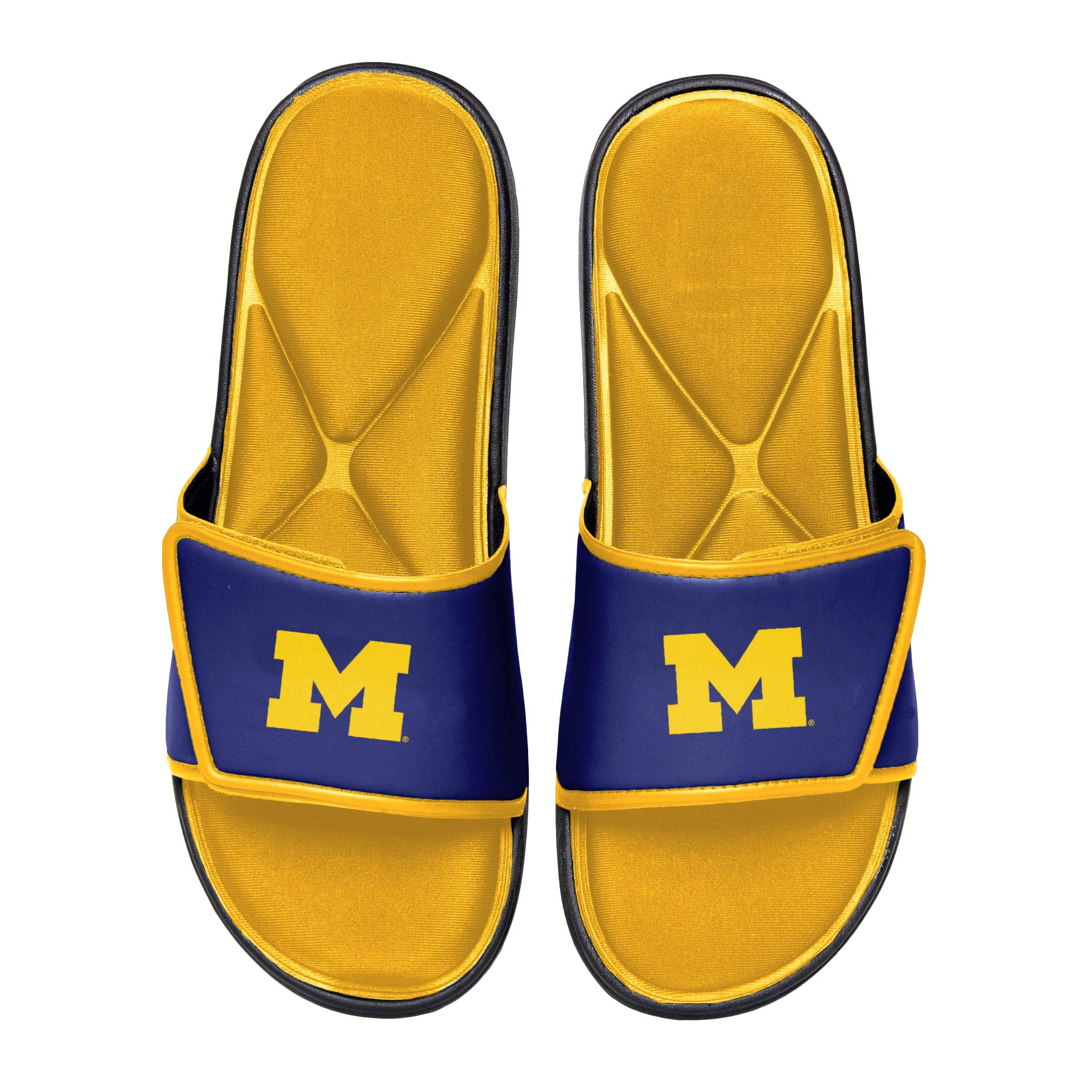 NCAA Michigan Wolverines Mens Deluxe Foam Sport Shower Slide Flip Flop SandalsDeluxe Foam Sport Shower Slide Flip Flop Sandals, Team Color, Medium/Mens Size 9-10