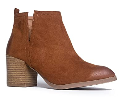 Western Slip On Stacked Heel Bootie - Side V-Cut Boot - Distressed Leather Low Heel - Barry by