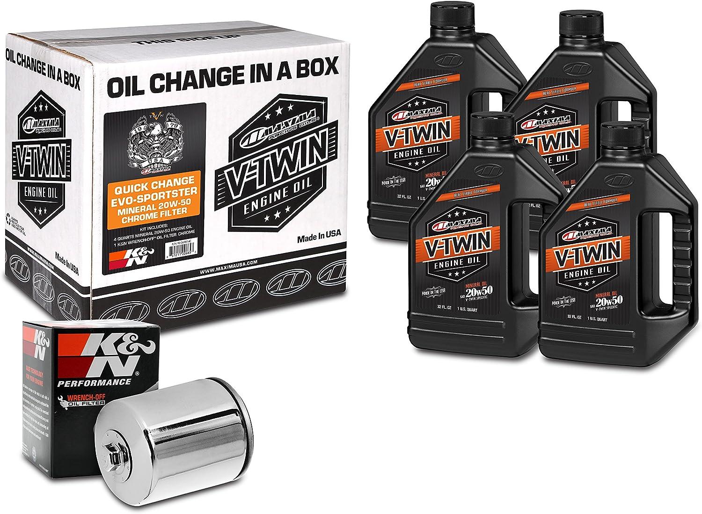 Maxima Racing Oils 90-069014C Chrome Engine Oil Change Kit (Quick Change Evo-Sportster Mineral 20W-50 Filter), 4 Quart, 1 Pack