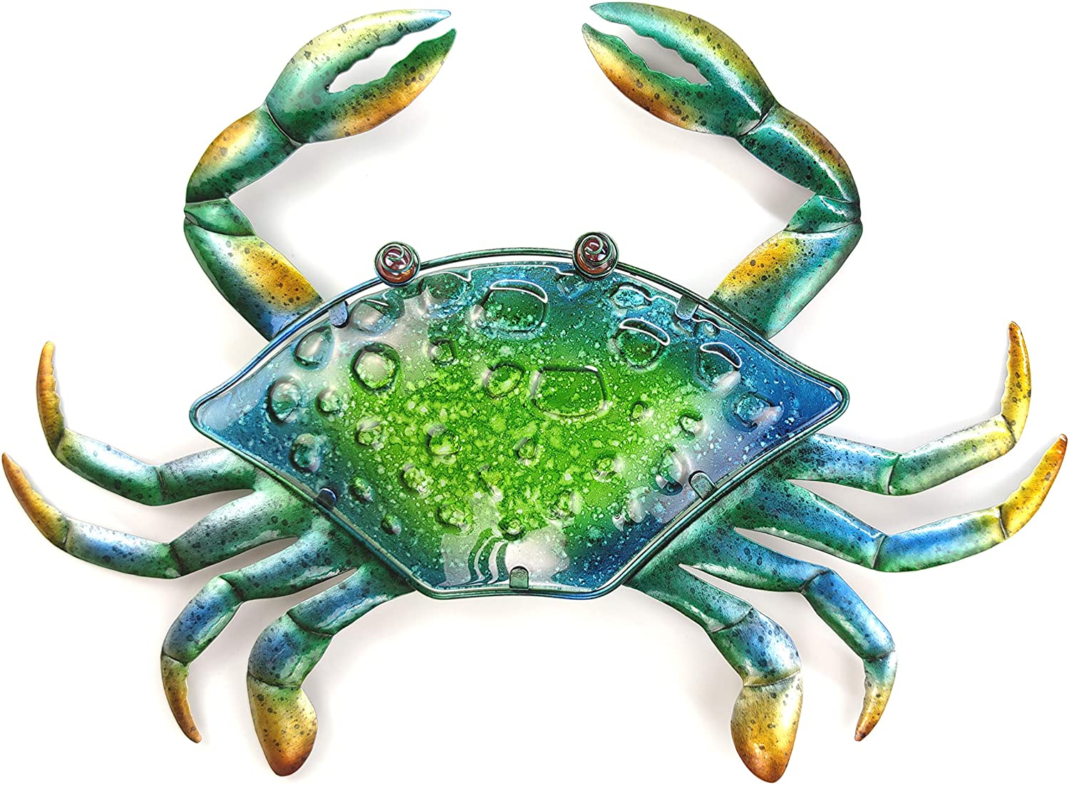 JOYBee 18Inch Large Metal Crab Wall art Decor,Decoration For Outdoor Indoor ,Nautical Hanging Art Blue Green Stained Glass With Metal Decorative Sculpture for Garden Pool Patio Balcony Kitchen or Bathroom