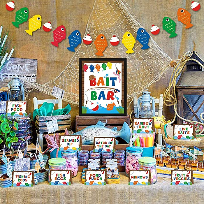 Gone Fishing Bait Bar Bobber Dessert Food Buffet Decoration-Fishing Banner Food Labels The Big One Dessert Table Birthday Party Favor Ideas Supplies