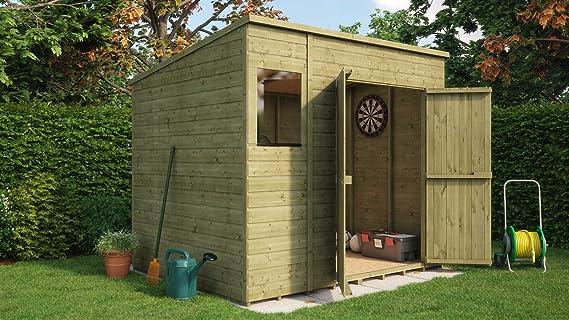 Cobertizo de jardín, con ventanas, de madera tratada a presión, de ...