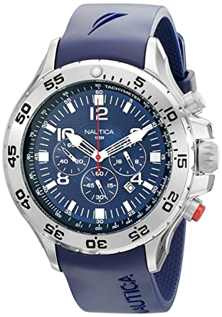 9f5d330b92a Amazon.com  Nautica Men s N14555G NST Stainless Steel Watch with Blue Resin  Band  Nautica  Watches
