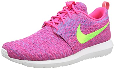 the latest def83 0a3c6 Nike Men s Flyknit Rosherun Low-Top Sneakers, Flash Lime CLB Pink, 7.5