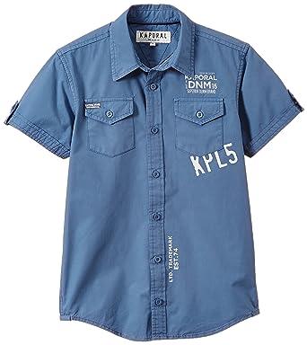 63c37c14b53c1 Kaporal - Chemise - Imprimé - Col à boutons - Manches courtes - Garçon -  Bleu
