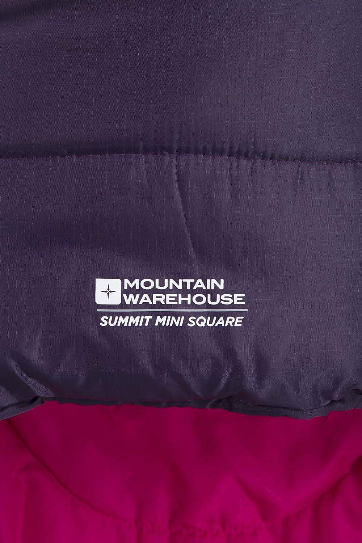 Mountain Warehouse Mini Sac de Couchage Summit carr/é pour Les Voyages Capuche Poche int/érieure en Forme denveloppe Sac de Couchage Enfants l/éger
