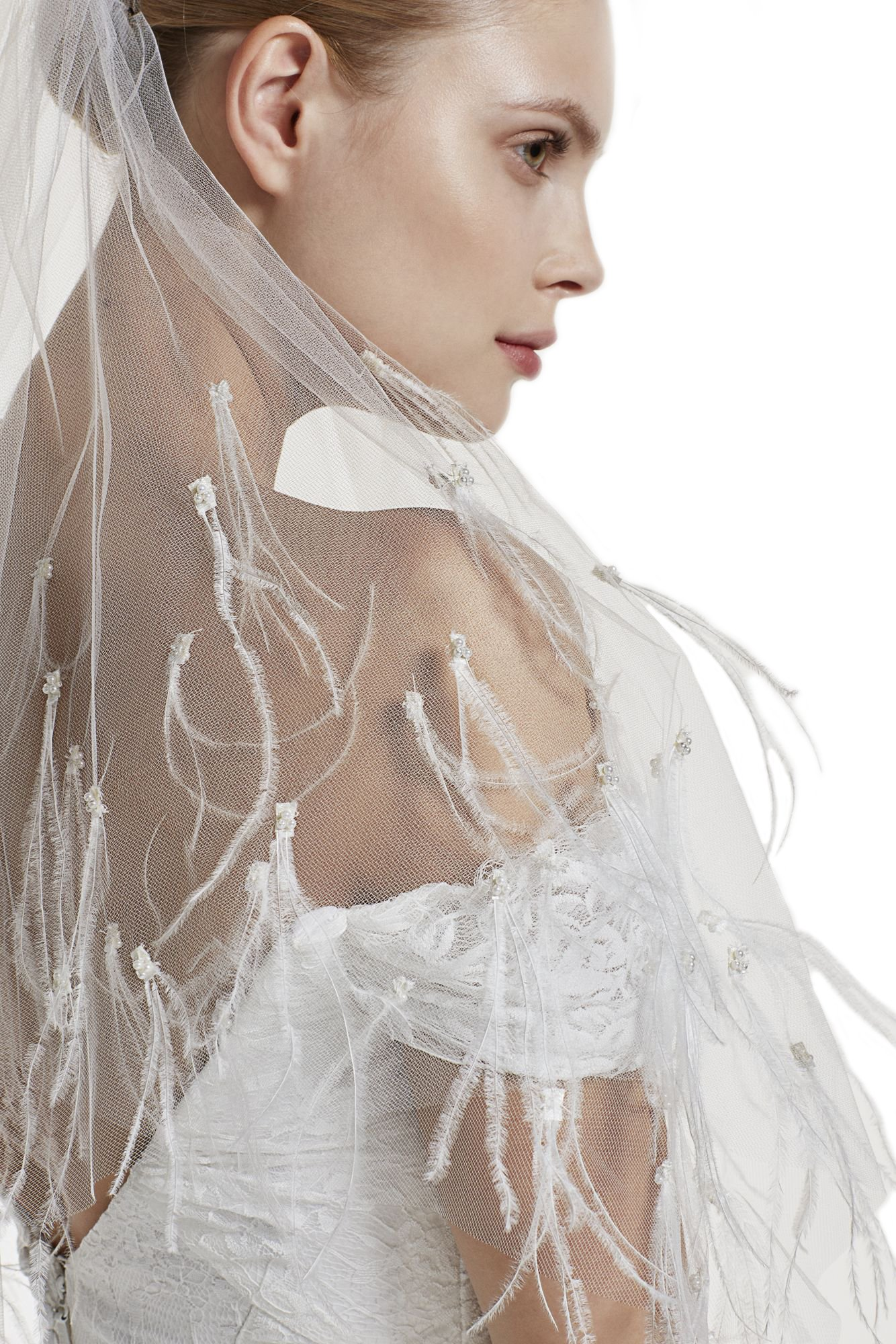 Gogh White ne Tier 36'' Fingertip Wedding Bridal Veil Full With ostrich feather Pearls 38