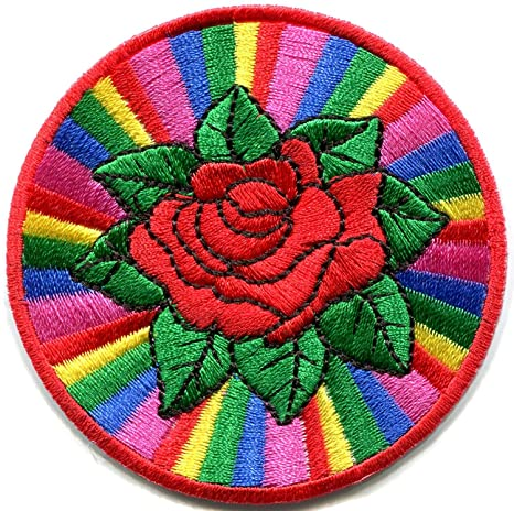 Parche para planchar con diseño de rosas arcoíris y gay lesbianas, LGBT retro, disco. Pasa ...