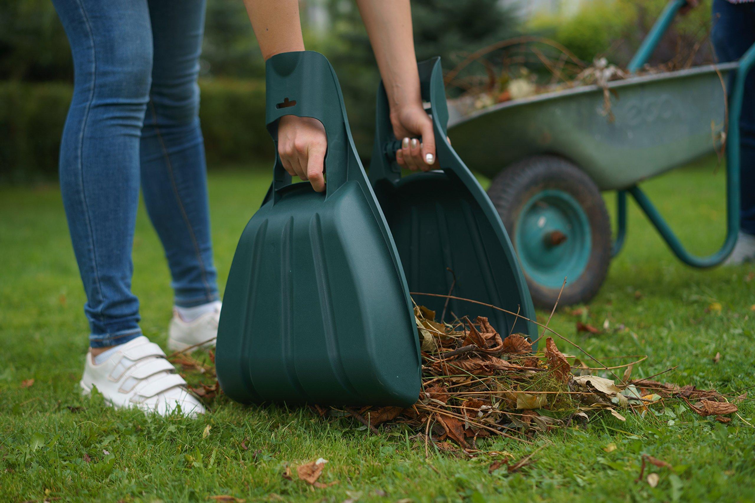 Kenley Leaf Scoops with Collapsible Yard Waste Garbage Bag Composting Bin – Leaf Hand Rakes for Leaves Grass Debris - Grabber Picker Tool for Garden or Lawn with Pop Up Composting Garbage Bag by Kenley (Image #7)