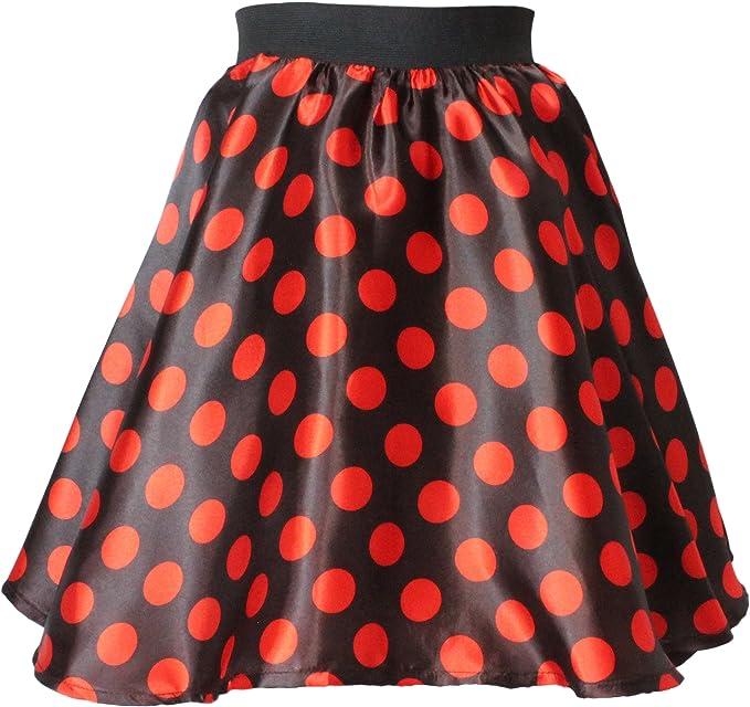 Ladies Polka Dot Rock N Roll Skirt /& Scarf 50s 60s Fancy Dress Red New 1950s