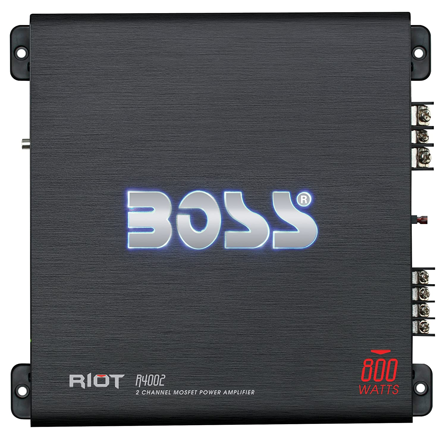 BOSS AUDIO R6002 Riot 1200-Watt Full Range, Class A/B 2-8 Ohm Stable 2 Channel Amplifier with Remote Subwoofer Level Control