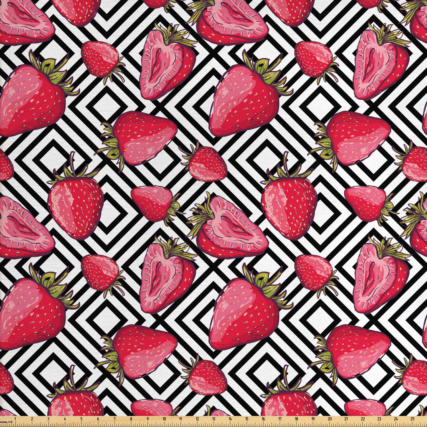 Ambesonne Fruits Fabric by The Yard, Strawberries on Minimalist Chevron Striped Pattern with Juicy Food Feminine Image, Decorative Fabric for Upholstery and Home Accents, 2 Yards, Black White
