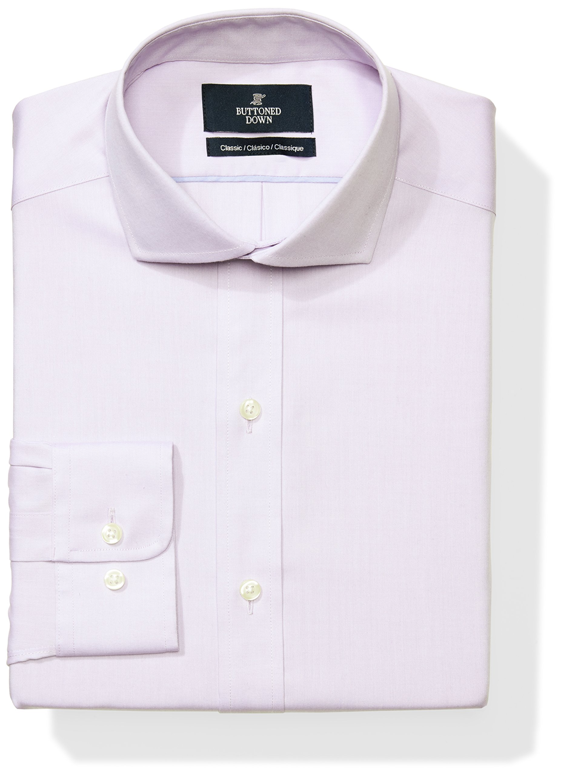 Buttoned Down Men's Classic Fit Cutaway-Collar Solid Non-Iron Dress Shirt (No Pocket), Purple, 19.5'' Neck 34'' Sleeve (Big and Tall) by Buttoned Down