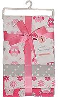 Little Beginnings Four Piece Laddered Receiving Blankets, Pink Owls
