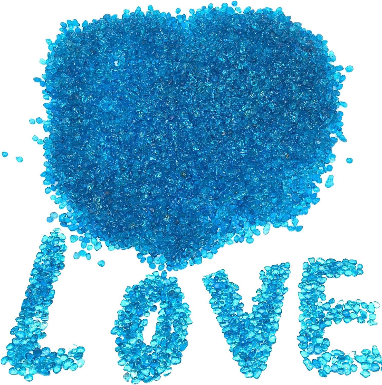 JZMYXA 2 Pounds Landscape Glass Pebble Gravel Sand Fit for Aquariums Succulent Plants Terrarium Landscape, Natural Blue