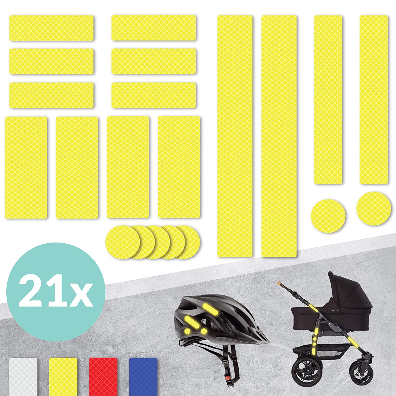 /· wasserfeste Leuchtaufkleber /· Blau /· hohe Sichtbarkeit im Herbst und Winter /· Reflektoren f/ür Kinderwagen Set Fahrrad Helm uvm Tampen 21x Reflektor Aufkleber