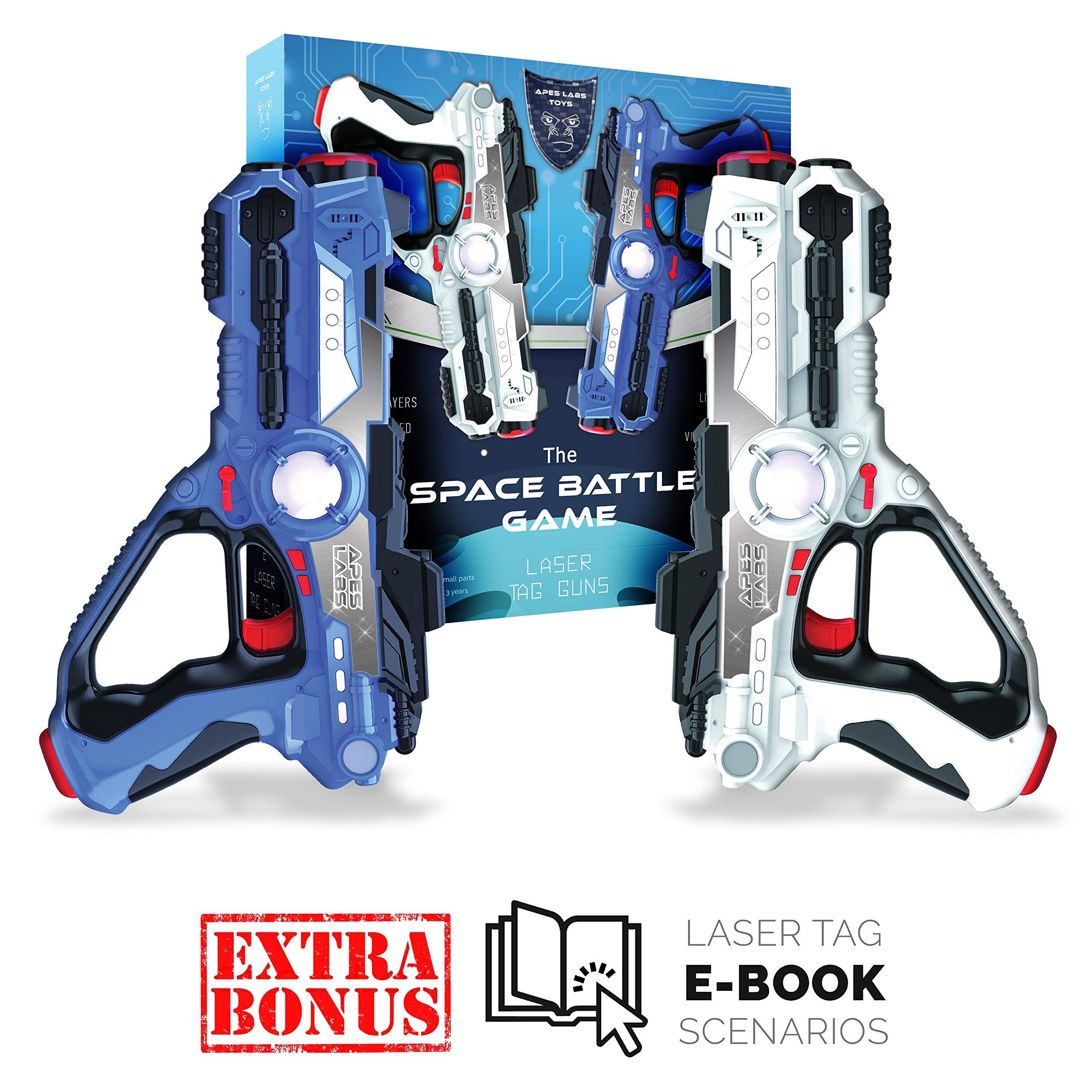Toy Laser Tag Guns for Kids - Multiplayer Lazer Tag Gun Set - Infrared Laser Gun Set of 2 - Top-rated Space Battle Game w/ Premium Gift Box - Interactive Laser Guns Yard Games + BONUS E-BOOK Scenarios