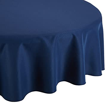 Charming LinenTablecloth 70 Inch Round Polyester Tablecloth Navy Blue