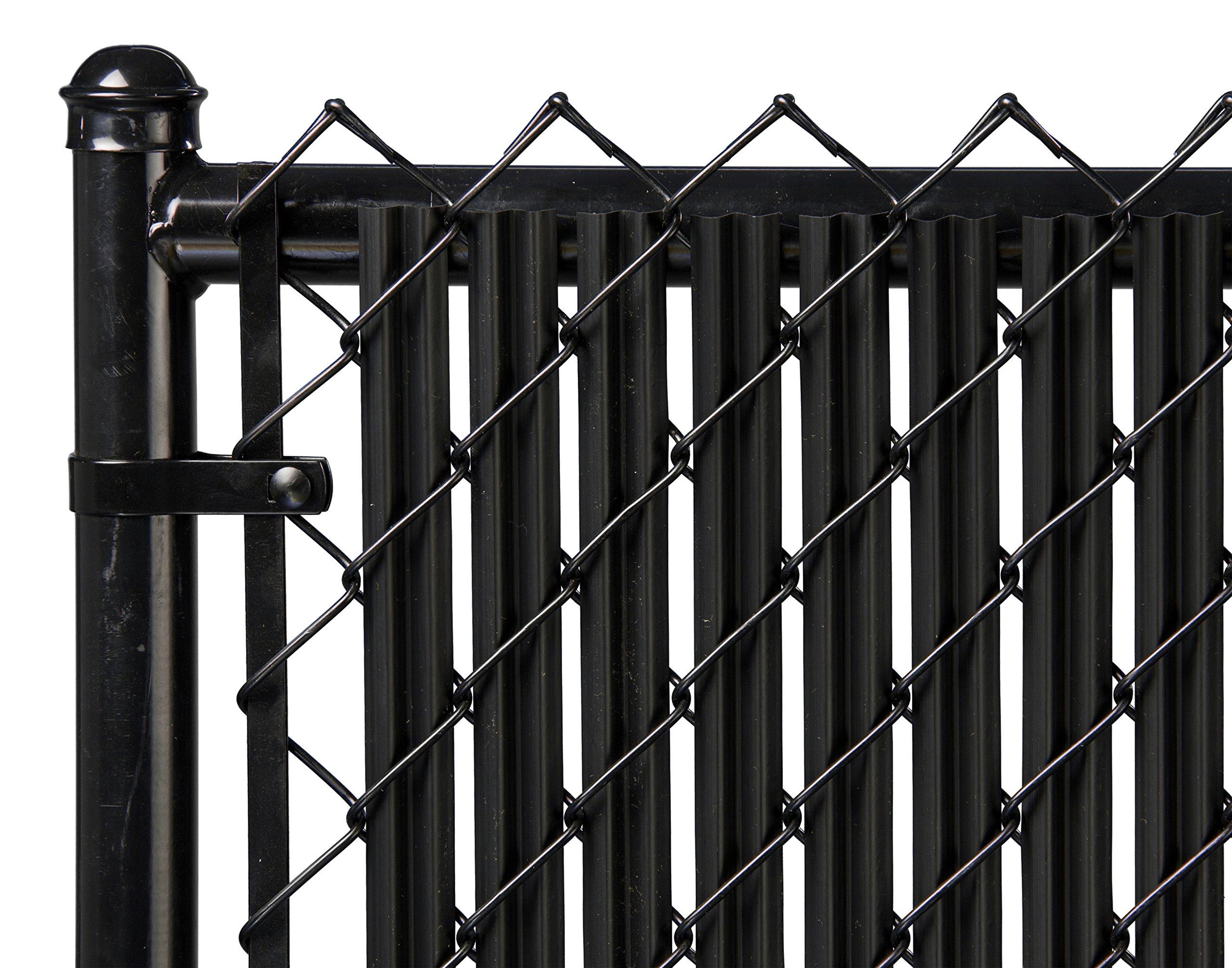 Ridged Slats Slat Depot Single Wall Bottom Locking Privacy Slat for 3', 4', 5', 6', 7' and 8' Chain Link Fence (6ft, Black) by Ridged Slats