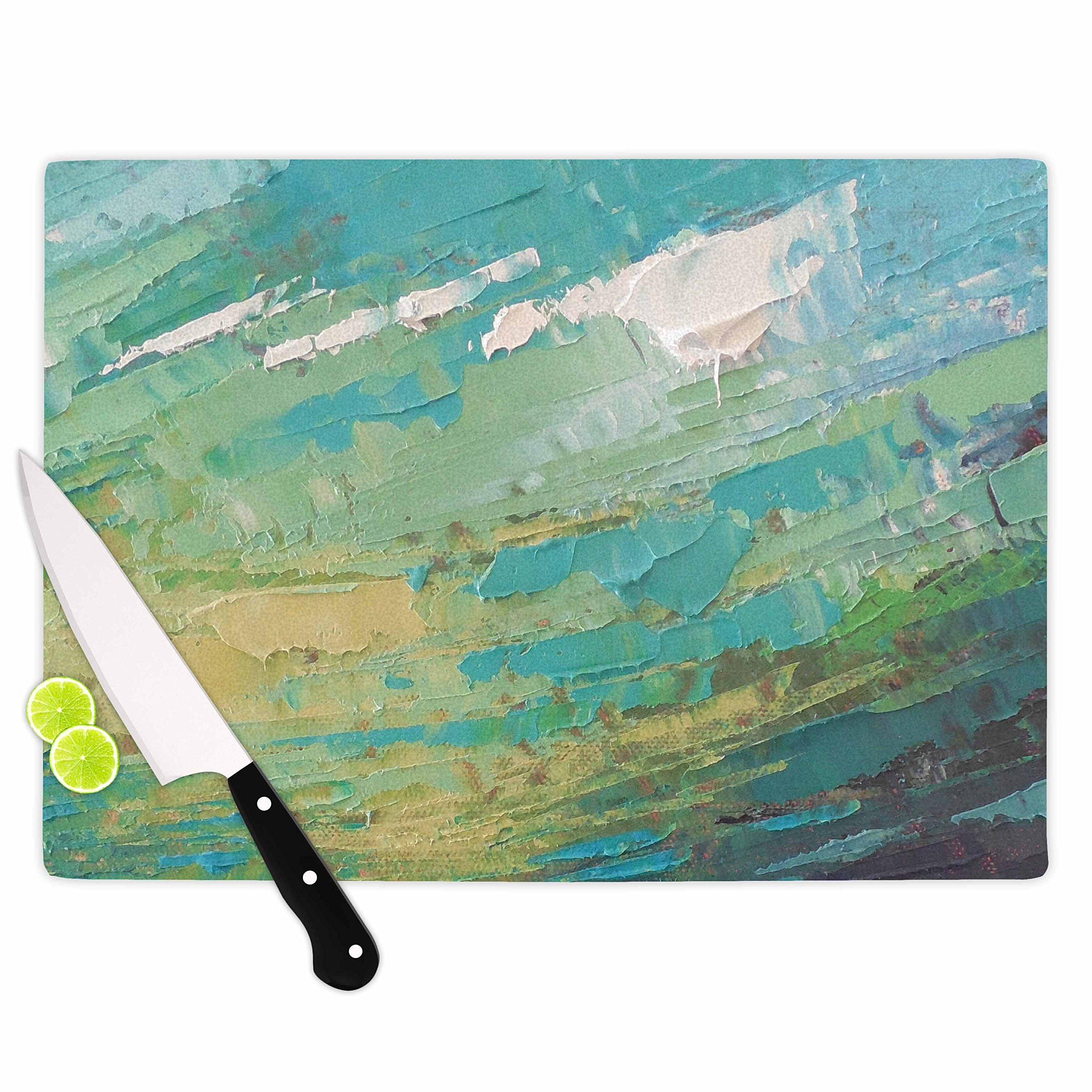 KESS InHouse Carol Schiff ''Sea Dance'' Teal Green Painting Cutting Board, 11.5'' x 15.75'', Multicolor