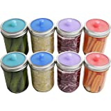 Pickle Pipe - One-Piece Silicone Waterless Fermentation Airlock Lids for Mason Jar Fermentation - WIDE MOUTH - 8 Pack
