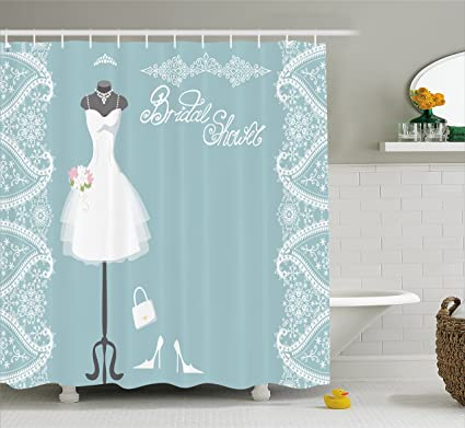 Ambesonne Bridal Shower Curtain Vintage French Inspired Bride Dress With Floral Frames Desiign Print