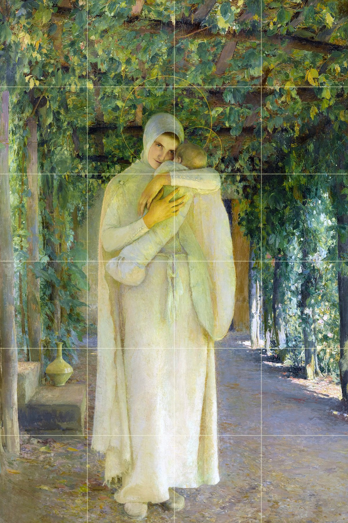 Tile Mural MADONE by Pascal Adolphe Jean Dagnan-Bouveret girl woman child Kitchen Bathroom Shower Wall Backsplash Splashback 4x6 4'' Marble, Matte by FlekmanArt