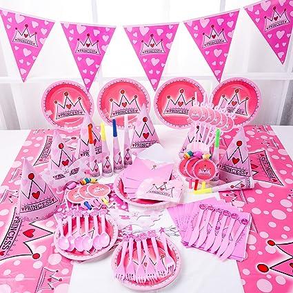 Disney Princesa De Fiesta Vajilla Decoración de cumpleaños suministros chicas