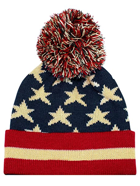 0fc9d8d867c Image Unavailable. Image not available for. Color  Vintage Red White   Blue  American Flag Knit Pom Pom Beanie Hat