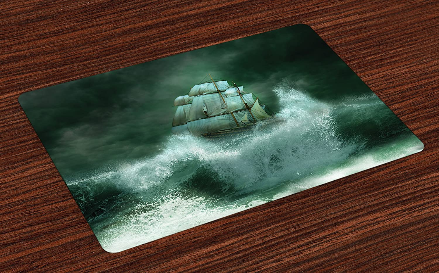 Lunarable Nautical Place Mats Set of 4, Old Vessel with The Giant Waves in Thunderstorm Pirates Adventure Tempest Paint Print, Washable Fabric Placemats for Dining Room Kitchen Table Decor, Green