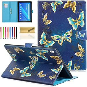Lenovo Tab 4 10 / Tab 4 Plus 10 Case - Dteck Slim Fit Folio Stand PU Leather Wallet Cover with Card Holders/Pocket for Lenovo Tab 4/ Tab 4 Plus 10.1 inch HD Tablet 2017 Release, Gold Butterfly