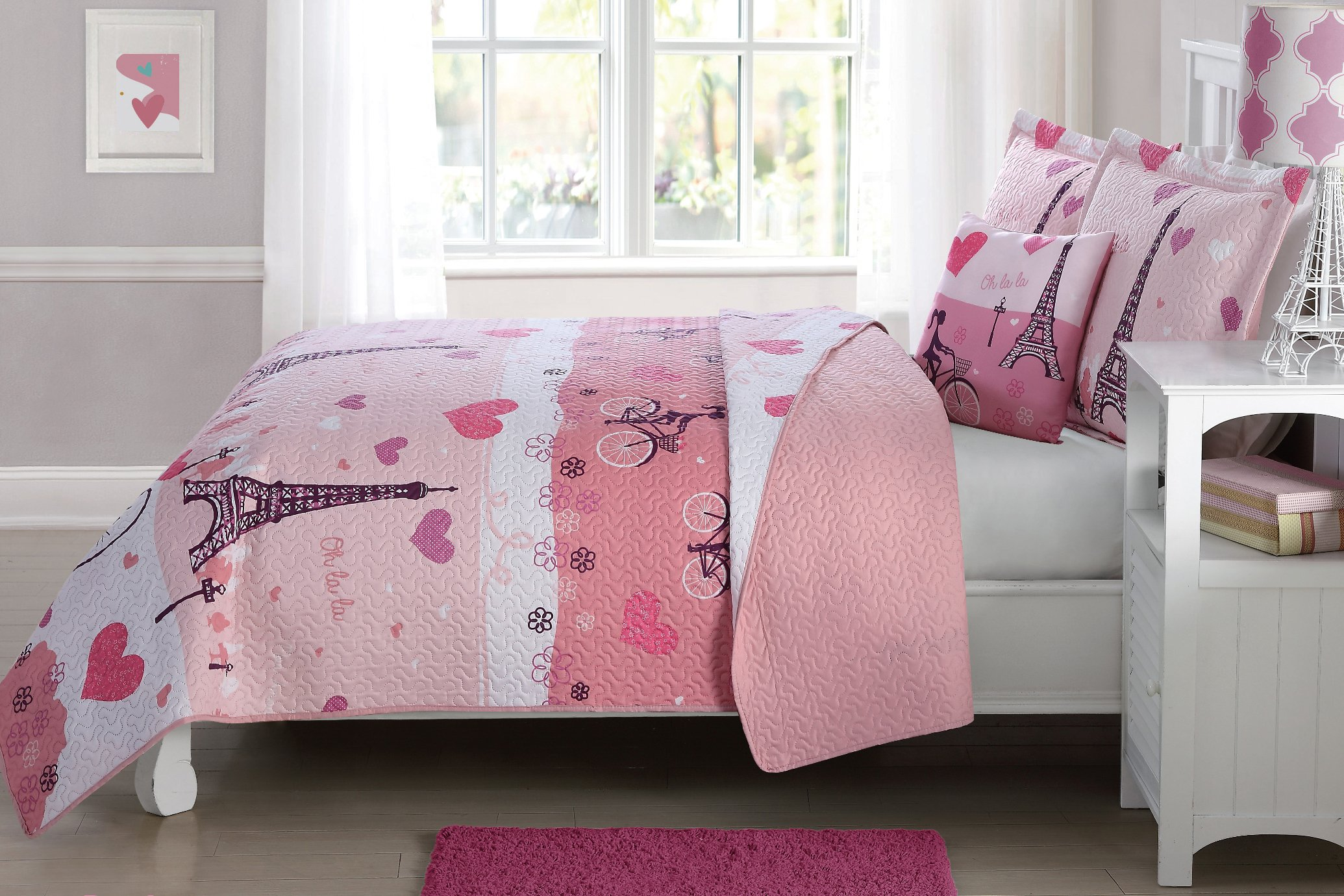 Fancy Linen Bedspread Coverlet Reversible Paris Pink white Purple Hearts Eiffel Tower New # Paris (Full)