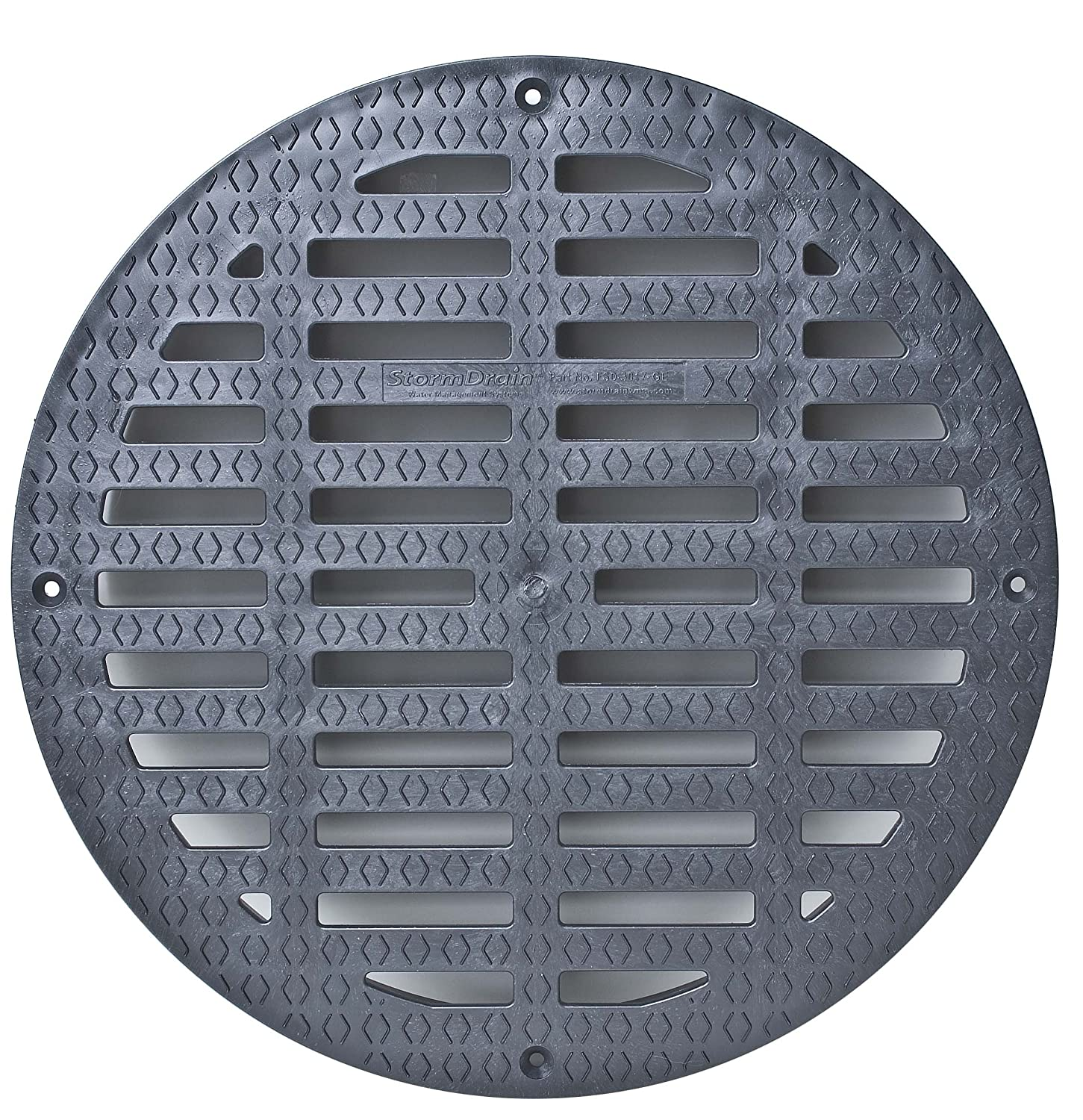 Storm Drain FSD-3017-G20B 20 Round Flat Grate for Catch Basin, Black StormDrain