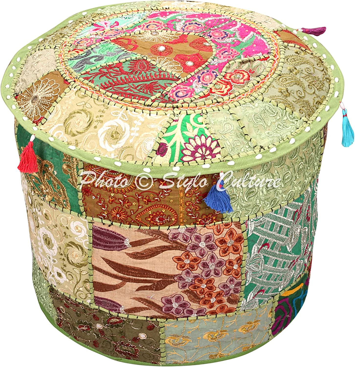 Stylo Culture Ethnic Bohemian Patchwork Pouf Cover Round Embroidered Pouffe Ottoman Green Cotton Floral Traditional Furniture Footstool Seat Puff (16x16x13) Bean Bag Living Room Decor