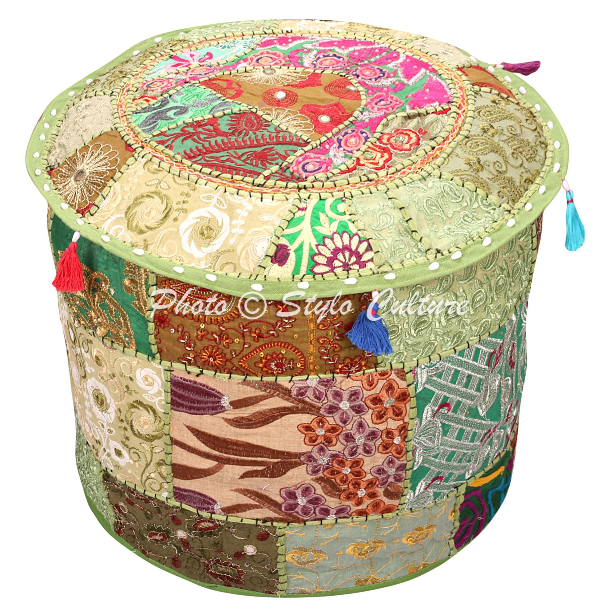 Stylo Culture Ethnic Bohemian Patchwork Pouf Cover Round Patchwork Embroidered Pouffe Ottoman Cover Green Cotton Floral Traditional Furniture Footstool Seat Puff Cover (16x16x13)