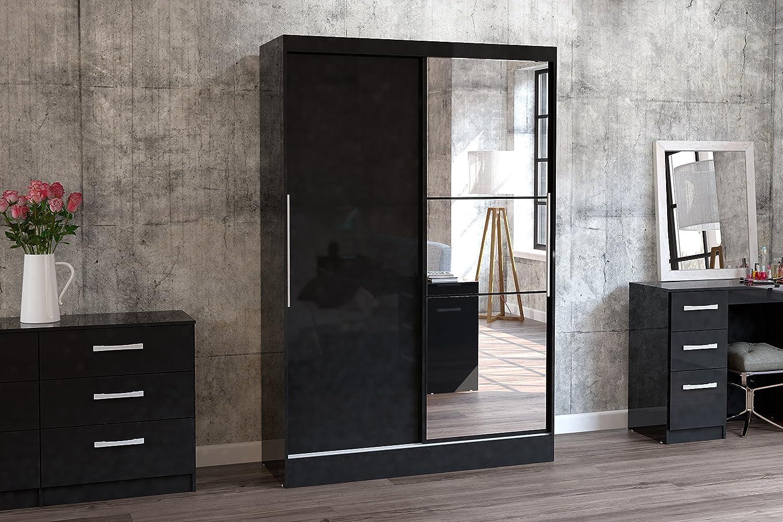 High-Gloss Black Birlea Lynx 2-Door Sliding Wardrobe With Mirror