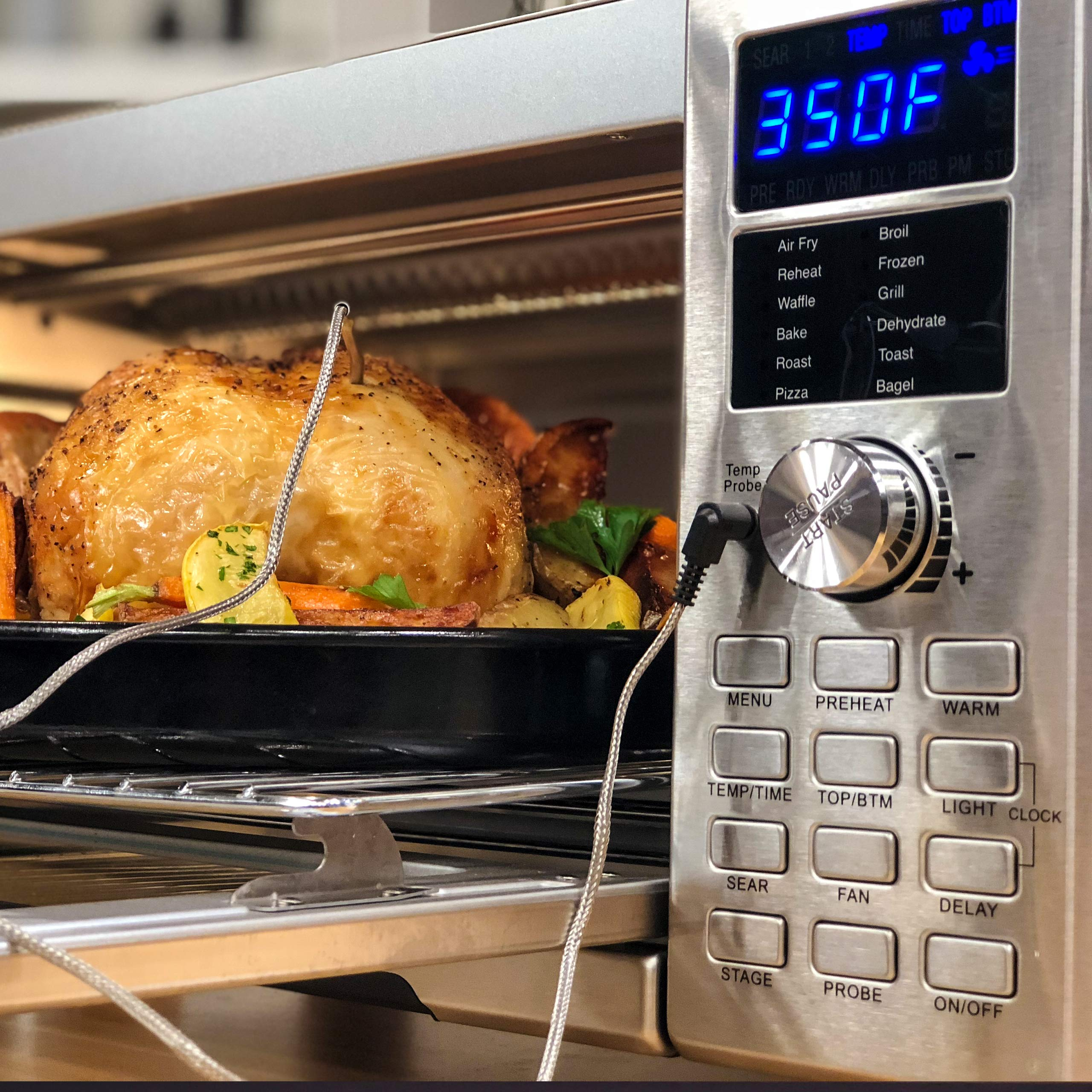NUWAVE BRAVO XL 1800-watt Air Fry Convection Oven with Flavor Infusion (FIT) Technology with Integrated Temperature Probe for Perfect Results; 12 Pre-Programmed Presets; 3 Fan Speeds; 5-Quartz Heating Elements