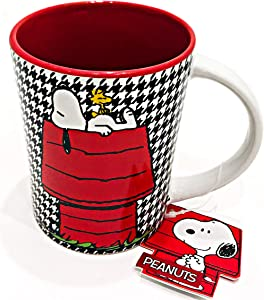SNOOPY and WOODSTOCK Hounds-tooth Ceramic Mug for Coffee Tea Latte by Gibson