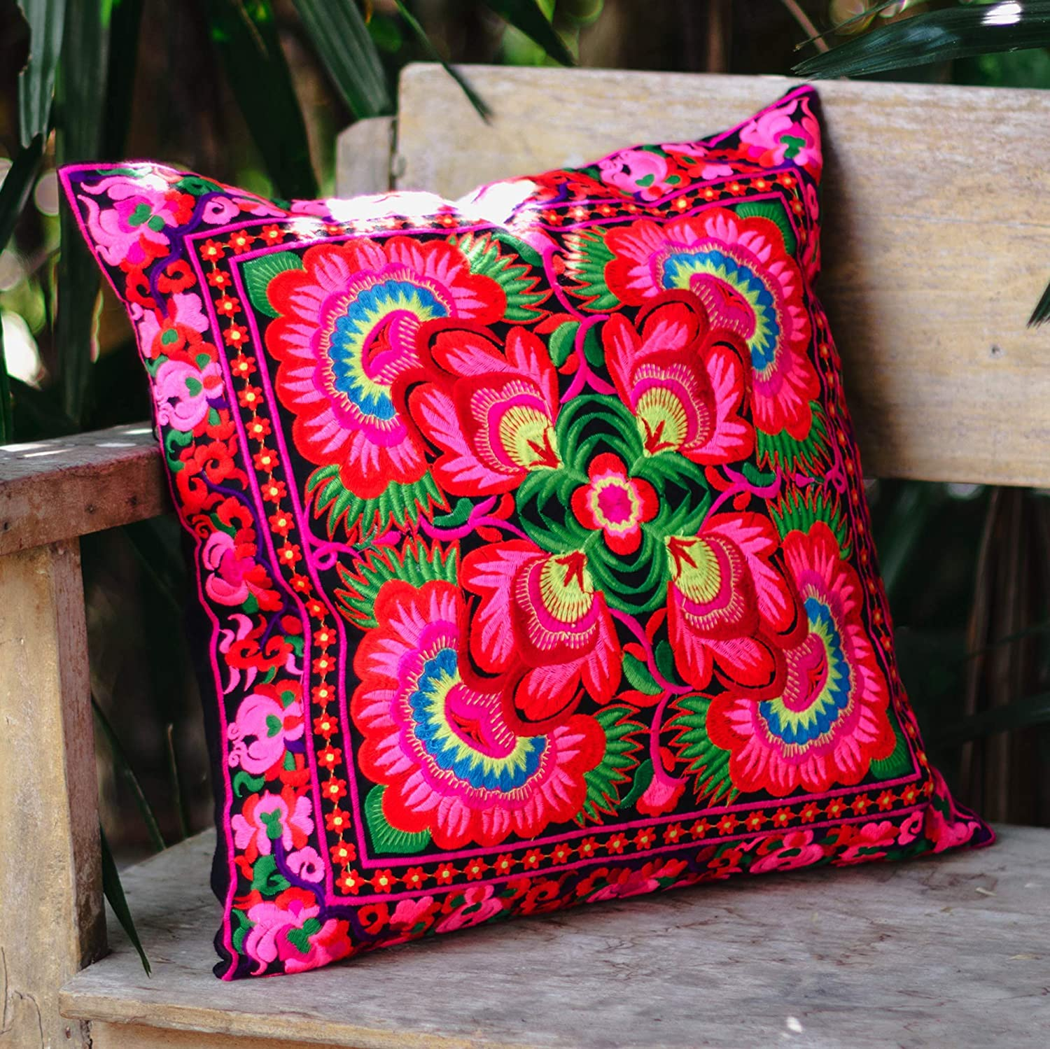 Flower Tropical Pillow Sofa Pillows Tribal Pillow Cover Changnoi Handcrafted Fair Trade Pillow Cover with Hmong Hill Tribe Embroidered