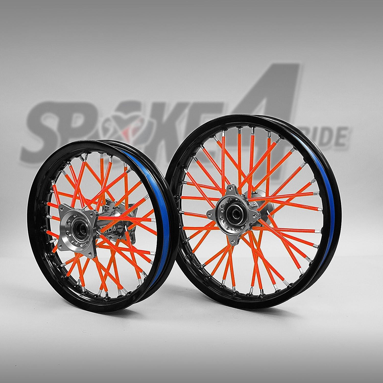 Cubre radios Rojo/Anaranjado Rayos Spoke Skins Motocross llanta enduro rueda moto Spoke4ride