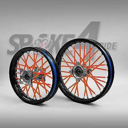 Cubre radios Rojo/Anaranjado Rayos Spoke Skins Motocross llanta enduro rueda moto