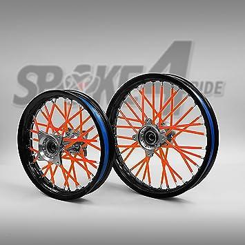 Cubre radios Rojo/Anaranjado Rayos Spoke Skins Motocross llanta enduro rueda moto: Amazon.es: Coche y moto