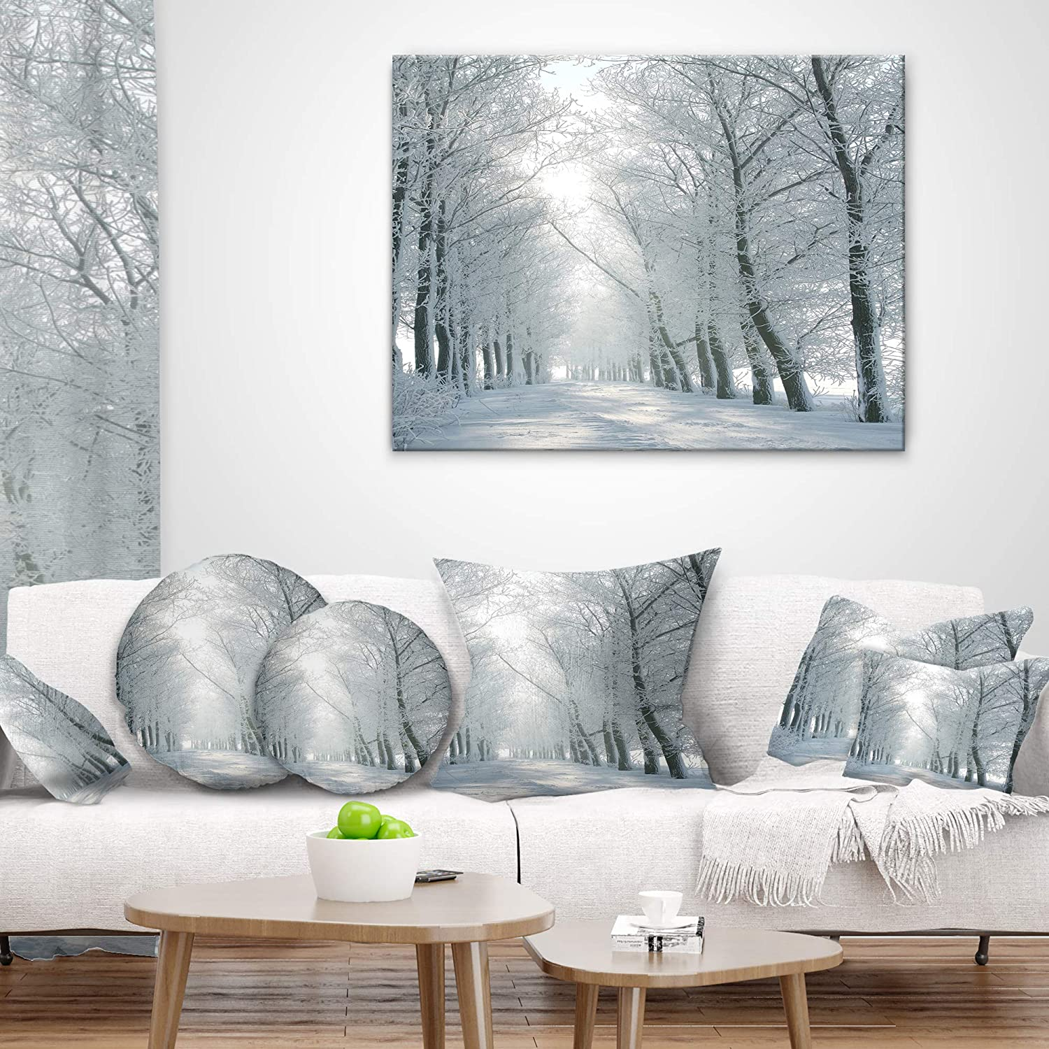 Sofa Throw Pillow 26 x 26 Designart CU14827-26-26 Winter Road Backlit My Morning Sun Forest Cushion Cover for Living Room