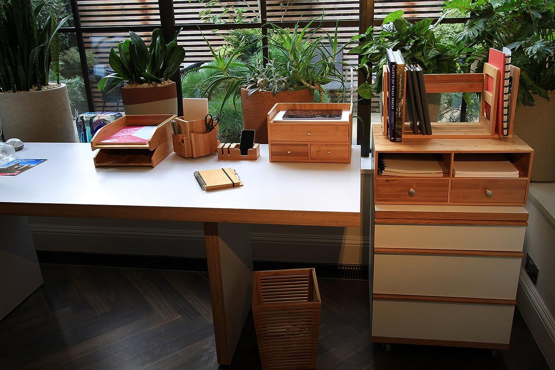 Distributeurs pour le Bureau en Bambou Officemate Organiseur Multim/édia de Bureau en Bois