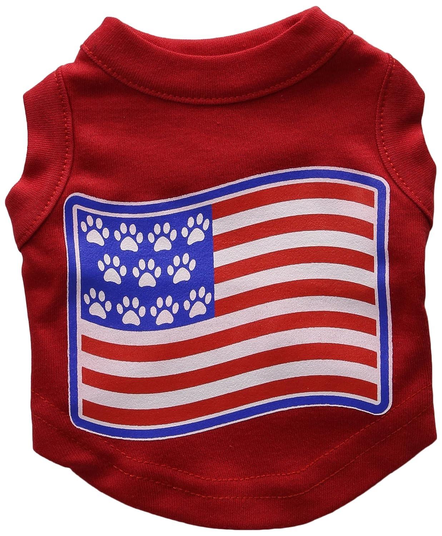Dog   Cat   Pet Charms Patriotic Star Paw Screen Print Shirts Red M (12)