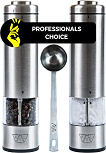 KSL Electric Salt and Pepper Grinder Set of 2 (Batteries Included) - Gift-ready Box - Adjustable Powered Shakers - Automatic One Hand Mills - Stainless Steel Battery Operated Peppermills - LED Light
