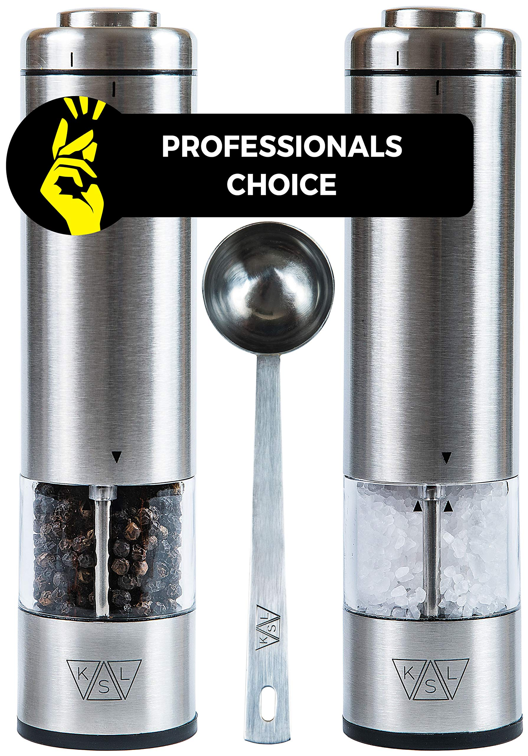 KSL Electric Salt and Pepper Grinder Set of 2 (Batteries Included) - Gift-ready Box - Adjustable Powered Shakers - Automatic One Hand Mills - Stainless Steel Battery Operated Peppermills - LED Light by KSL