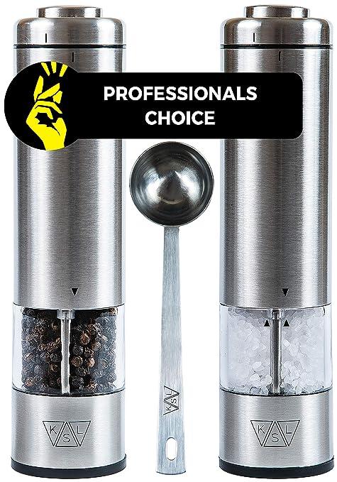 Amazon.com: KSL - Molinillo eléctrico de sal y pimienta con ...