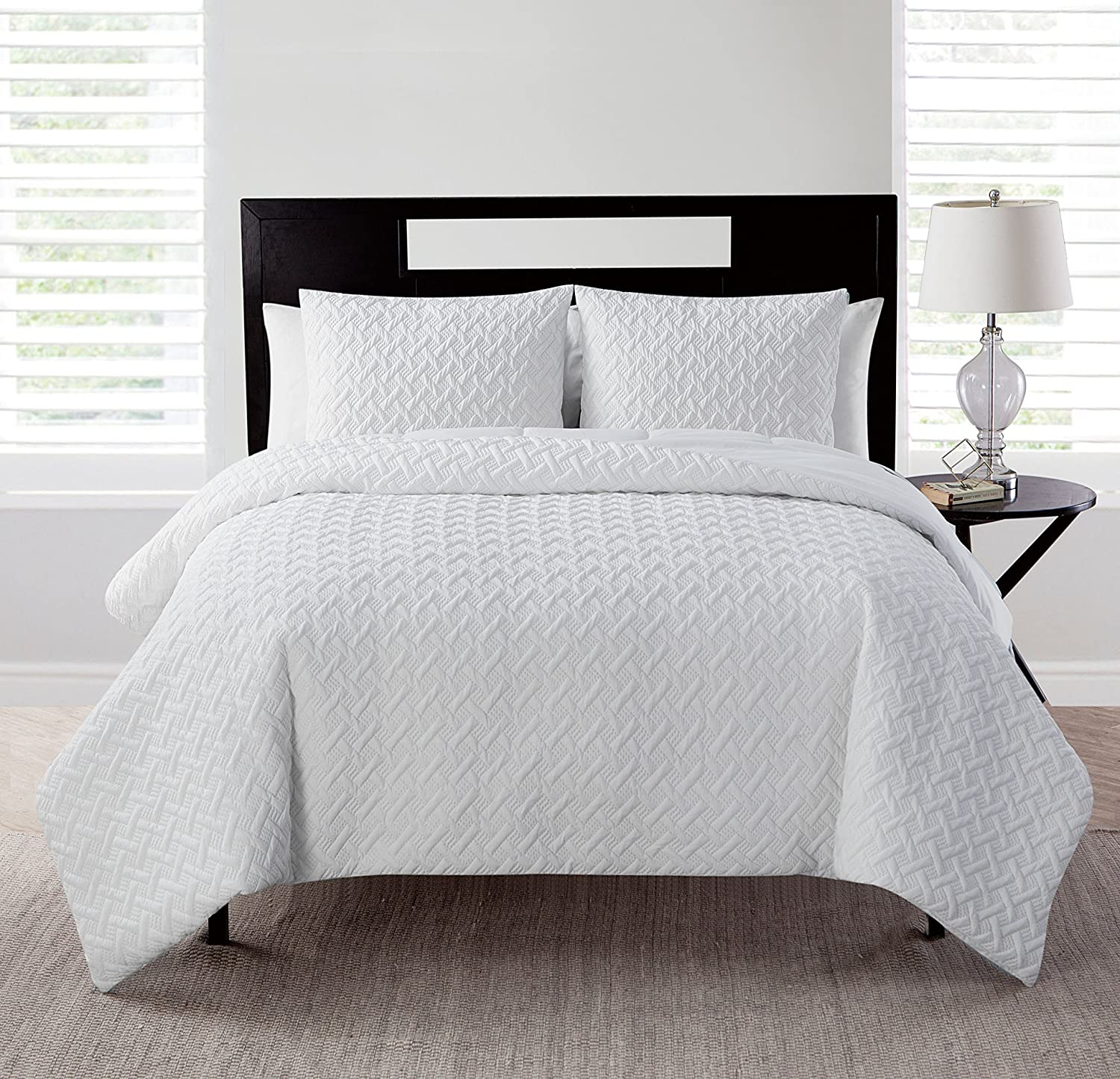 VCNY Home Nina Textured Geometric 3-Piece Solid Quilt Set, Full/Queen, Names Nina Comforter Home Designs on