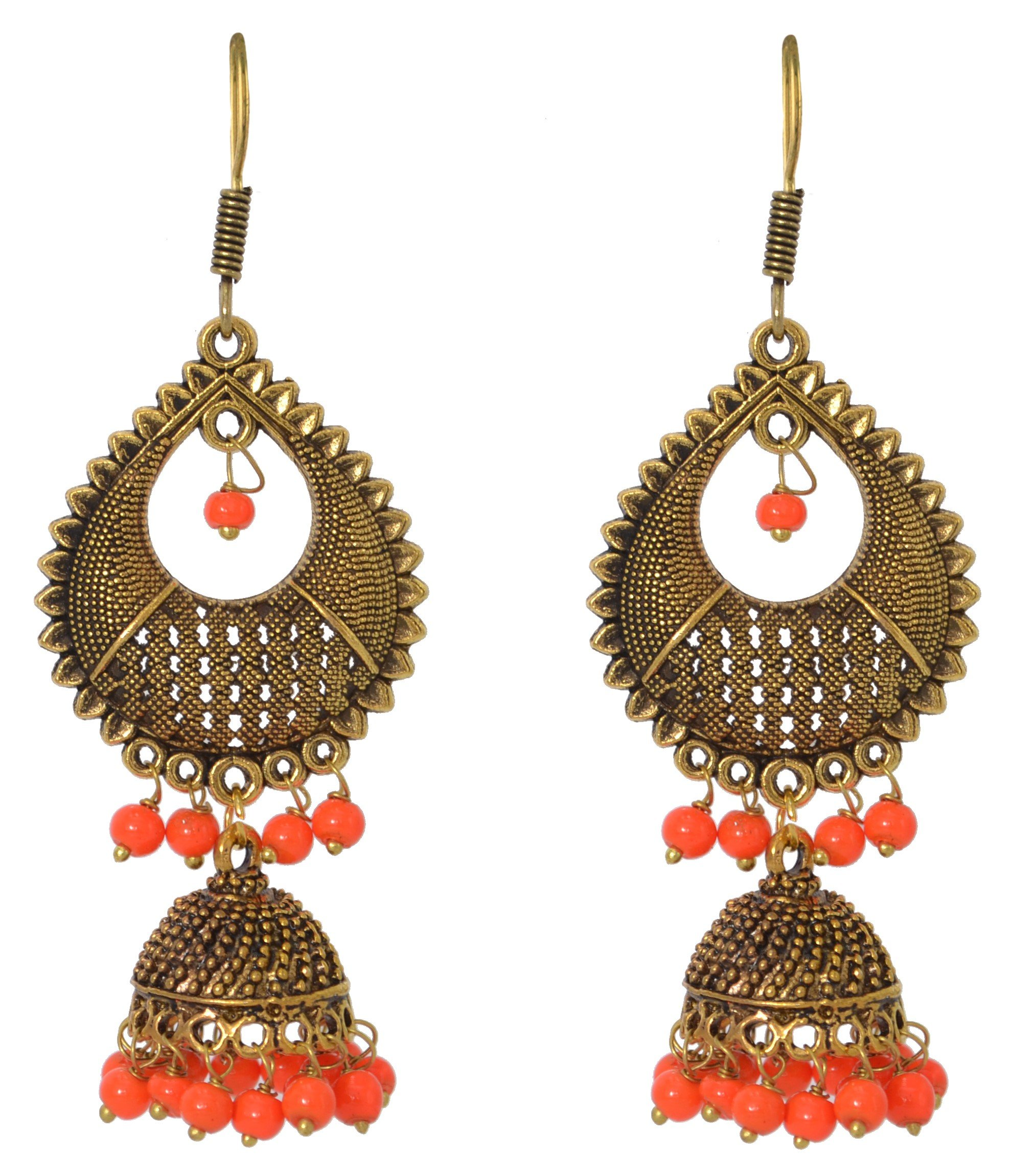 Sansar India Oxidized Beaded Jhumka Indian Earrings Jewelry for Girls and Women
